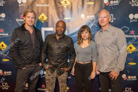 Peter Giles, Donnell Rawlings, Allison Rich, Kenny Mayne From left, Peter Giles, Donnell Rawlings, Allison Rich, and Kenny Mayne attend the 5th Quarter Premiere presented by OBB Pictures and go90 at the UTA Theater, in Beverly Hills, CA