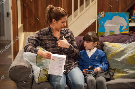 April Windsor, as played by Amelia Flanagan, shows Carly Hope, as played by Gemma Atkinson, her letter to Santa and says her Dad's wish is for her to move in.. (Ep 7678 - Friday 25th November 2016)