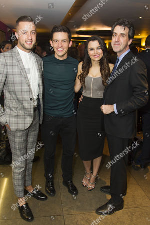 Stock Picture of Paul Taylor-Mills (Producer), Jonathan Bailey (Jamie), Samantha Barks (Cathy) and Jason Robert Brown (Author/Music/Director)