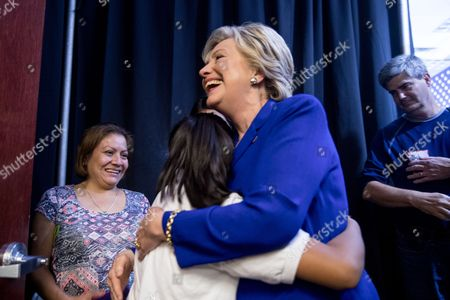 Hillary Clinton, Karla Ortiz Democratic presidential candidate Hillary Clinton hugs Karla Ortiz, left, backstage after speaking at a rally at the Plumbers and Pipe fitters Local 525 Union Hall in Las Vegas, . Karla met Hillary Clinton in Nevada and was featured in the campaign ad, Brave