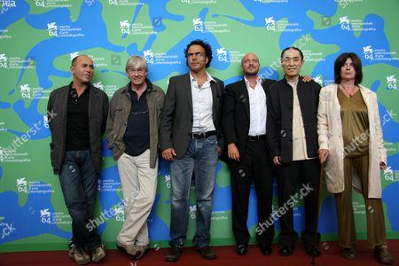 The Jury - (L-R) Ferzan Ozpetek, Paul Verhoven, Alejandro Gonzales Inarritu, Emanuele Crialese, Yimou Zhang and Catherine Breillat