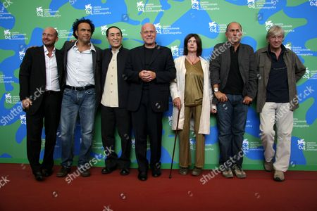 The Jury - (L-R) Ferzan Ozpetek, Paul Verhoven, Alejandro Gonzales Inarritu, Emanuele Crialese, Yimou Zhang and Catherine Breillat with the Director of Festival Marco Muller (centre)