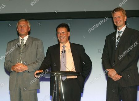 Stock Image of Anssi Vanjoki, Executive Vice President and General Manager of Multimedia at Nokia, Olli-Pekka Kallasvuo, President and Chief Executive Officer of Nokia and Kai Oistamo, Executive Vice President of Nokia