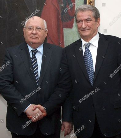 Stock Image of For the story BC-EU--Albania-Gorbachev Albania's Prime Minsiter Sali Berisha, right, meets with visiting former Soviet Russia leader Mikhail Gorbachev, in Tirana, Albania,, praising him for the reforms that helped the fall of Communism in Albania. Gorbachev is in Tirana to hand over the winning medal of the Women's World Chess Championship to Hou Yifan of China who beat Humpy Koneru of India 5.5-2.5 after only 8 of the 10 games