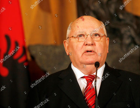 Stock Photo of For the story BC-EU--Albania-Gorbachev Former Soviet Russia leader Mikhail Gorbachev gives a speech in Tirana, . Gorbachev is in Tirana to hand over the winning medal of the Women's World Chess Championship to Hou Yifan of China who beat Humpy Koneru of India 5.5-2.5 after only 8 of the 10 games