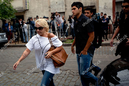 """Claudia Villafane, Argentina's soccer legend Diego Maradona's former wife, arrives at a funeral home to attend the funeral of Maradona's mother, Dalma Franco de Maradona, in Buenos Aires, Argentina, . Widely known as """"Dona Tota,"""" Maradona's mother died on Saturday of heart failure. She was 81"""
