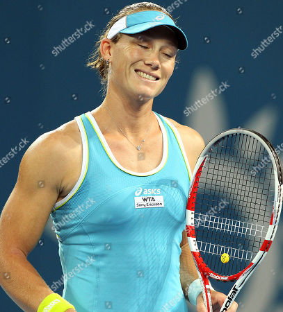 Sam Stosur Australia's Sam Stosur reacts to a shot she played in her match against Anastasiya Yakimova of Belarus during the Brisbane International tennis tournament in Brisbane, Australia