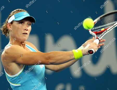 Sam Stosur Australia's Sam Stosur plays a shot in her match against Anastasiya Yakimova of Belarus during the Brisbane International tennis tournament in Brisbane, Australia