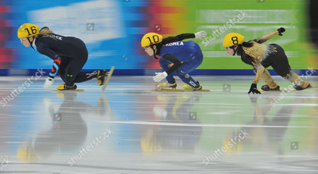 Sarah Warren, Park Jung Hyun, Sumire Kikuchi Sarah Warren of the United States, Korea's Park Jung Hyun and Japan's Sumire Kikuchi, from left, compete at the women's 500 meter short track speed skating competition during the first winter Youth Olympic Games in Innsbruck, Austria