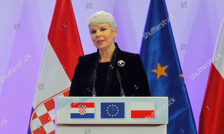 Jadranka Kosor Croatian Prime Minister Jadranka Kosor speaks during the Signature of the Accession Treaty of Croatia on the sidelines of EU summit in Brussels on . Croatia is signing its long-awaited accession treaty that will bring it into the European Union in 2013 after ratification by the legislatures of the bloc's 27 member nations
