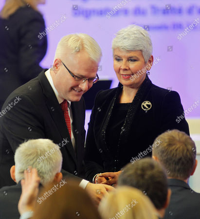 Ivo Josipovic, Jadranka Kosor Croatian President Ivo Josipovic, left, and Croatian Prime Minister Jadranka Kosor speak with ministers after signing the Signature of the Accession Treaty of Croatia on the sidelines of EU summit in Brussels on . Croatia is signing its long-awaited accession treaty that will bring it into the European Union in 2013 after ratification by the legislatures of the bloc's 27 member nations