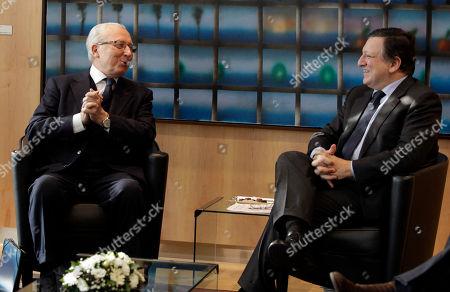 Jacques Delors, Jose Manuel Barroso European Commission President Jose Manuel Barroso, right, speaks with former European Commission President Jacques Delors at EU headquarters in Brussels