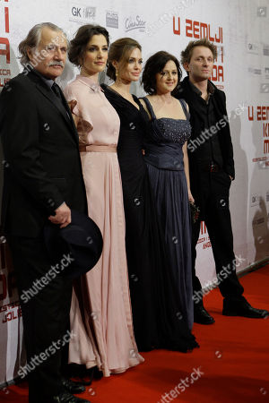 Actors of the movie In the Land of Blood and Honey, from left to right, Rade Serbedzija, Zana Marjanovic,Angelina Jolie,director, Vanesa Glodjo and Goran Kostic pose during gala premiere in Sarajevo, Bosnia . Angelina is in Sarajevo for screening of her film 'In the Land of Blood and Honey