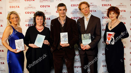 Christie Watson, Carol Ann Duffy, Andrew Miller, Matthew Hollis,Moira Young From Left, Christie Watson, Carol Ann Duffy, second left, Andrew Miller, centre, Matthew Hollis, second right, and Moira Young, right, the five category winners of the 2011 Costa Book Awards pose with their books at the Awards ceremony in London