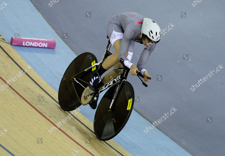 New Zealand's Alison Shanks races to the silver medal in her women's individual pursuit final during the World Cup track cycling meeting at the London 2012 Olympic Velodrome at the Olympic Park in London