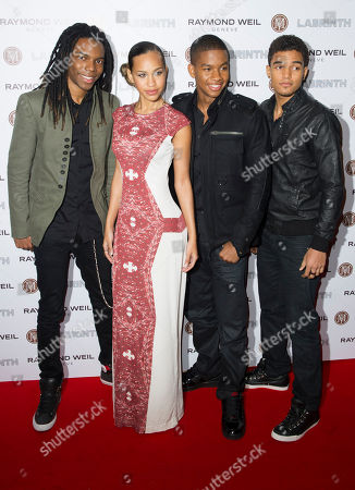 Amanda Reifer, T-Ray Armstrong, Barry 'Bar-Man' Hill and Jamar Harding, Cover Drive Amanda Reifer, T-Ray Armstrong, Barry 'Bar-Man' Hill and Jamar Harding from Cover Drive arrive for the Pre-Brit Awards Dinner at a London venue