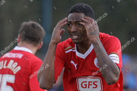 Sanchez Watt Crawley Town's Sanchez Watt reacts to a referee's decision during their English FA Cup fifth round soccer match against Stoke City at Broadfield Stadium, Crawley, England