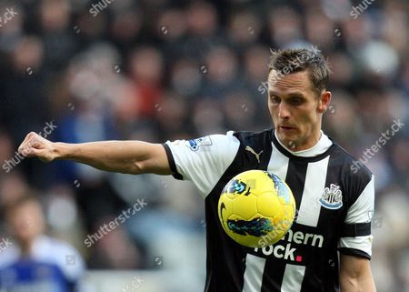 Stock Picture of Newcastle United 's Peter Lovenkrands, control's the ball during their English Premier League soccer match against Chelsea at the Sports Direct Arena, Newcastle, England