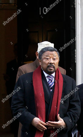 Jean Ping Chair of the Commission of the African Union, Jean Ping leaves 10 Downing Street in London after a breakfast meeting with British Prime Minister David Cameron and representatives of Somalia before the Somalia Conference