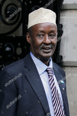 Stock Photo of Mohamed Ahmed Alin President of Somalia's Galmadug region, Mohamed Ahmed Alin arrives for a breakfast meeting with British Prime Minister David Cameron at 10 Downing Street in London before the Somalia Conference