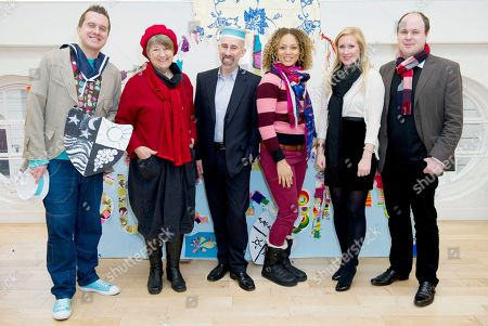 Joanna Foster, Phil Gallagher, Mister Maker, Angela Griffin, Joey Tabone, Martha Howe-Douglas, Kris Martin From left, British presenter, Phil Gallagher, from CBBC's Mister Maker, Joanna Foster, Chairman of the Crafts Council, Joey Tabone, CEO of Start, British actress, Angela Griffin, British presenter, Martha Howe-Douglas, and Kris Martin, Royal River exhibition curator, unveil the 'Start Imagining' campaign, an initiative inspired by HRH The Prince of Wales at the Old Royal Naval College, Greenwich, London. A programme that is aimed at primary and secondary schools to stimulate young people to create arts and crafts from scrap and reclaimed materials to encourage a sustainable life, London