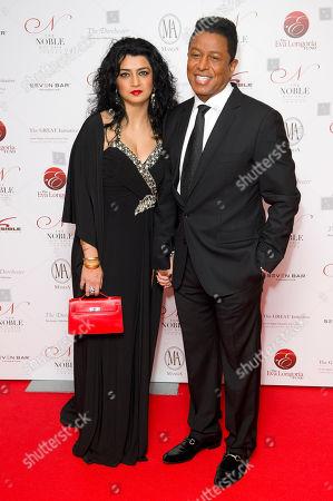 Jermaine Jackson, Halima Rashid Jermaine Jackson and Halima Rashid arrive for the Noble Gift Gala, at a central London venue