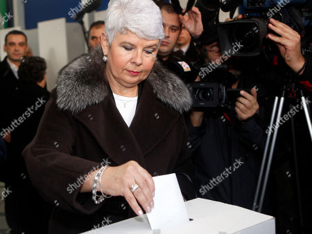 Jadranka Kosor Croatia's Prime Minister Jadranka Kosor casts her ballot at a polling station in Zagreb, Croatia, . Croatians are voting in an election that is expected to unseat the conservative government ahead of the country's entry into the European Union