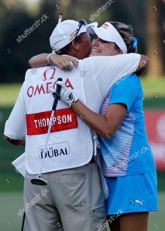 Alexis Thompson Alexis Thompson from U.S., right, hugs her caddie after winning the Dubai Ladies Masters golf tournament in Dubai, United Arab Emirates
