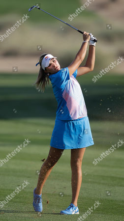 Alexis Thompson Alexis Thompson from U.S. plays a shot on the 16th hole during final day of the Dubai Ladies Masters golf tournament in Dubai, United Arab Emirates