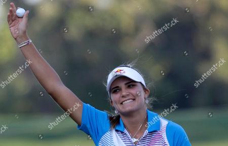 Alexis Thompson Alexis Thompson from the U.S. celebrates after winning the Dubai Ladies Masters golf tournament in Dubai, United Arab Emirates