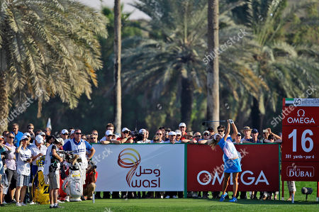 Alexis Thompson Alexis Thompson from the U.S. tees off on the 16th hole during the final day of the Dubai Ladies Masters golf tournament in Dubai, United Arab Emirates