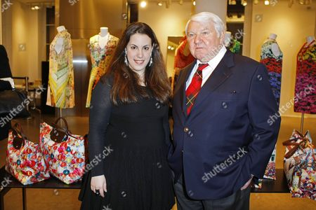 Mary Katrantzou, Philippe Cassegrain Greek born designer Mary Katrantzou, left, poses with French Longchamp chairman Philippe Cassegrain, at a Longchamp cocktail party as part of the Haute Couture Fashion Week in Paris