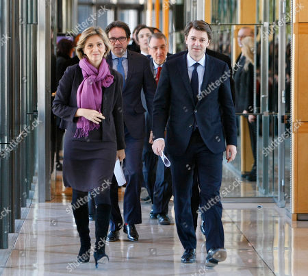 Francois Baroin, Valerie Pecresse, Frederic Lefebvre French finance minister Francois Baroin, right, budget minister Valerie Pecresse, left, and junior minister for small firms Frederic Lefebvre, center arrive for the traditional New Year Wishes to the press, at the finance ministry in Paris