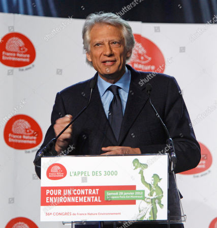Dominique de Villepin Former French Prime Minister Dominique de Villepin, who is a candidate for the April 2012 presidential elections, delivers his speech during a meeting with France Nature Environment, an environmental movement, in Montreuil, east of Paris