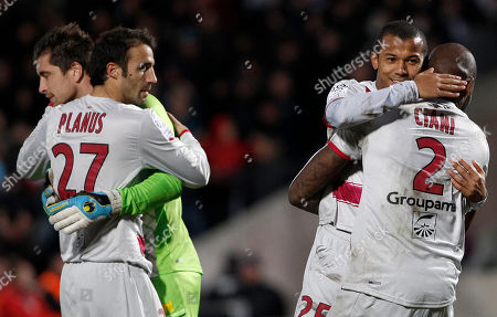 Mariano Ferreira Bordeaux's Mariano Ferreira, right, reacts with teammates, Michael Ciani, right, goalkeeper Cedric Carrasso, left facing, and Marc Planus during their French League one soccer match against Lyon in Bordeaux, southwestern France