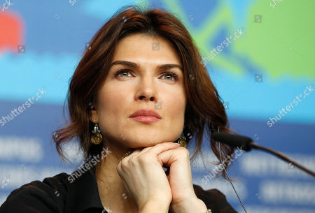 Stock Image of Monica Birladeanu Actress Monica Birladeanu attends the press conference of the film Diaz - Don't Clean Up This Blood at the 62 edition of the Berlinale, International Film Festival in Berlin