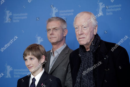 Stephen Daldry, Thomas Horn, Max von Sydow From left actor Thomas Horn, background centre director Stephen Daldry and actor Max von Sydow pose at the photo call for the film Extremely Loud and Incredibly Close during the 62 edition of International Film Festival Berlinale, in Berlin
