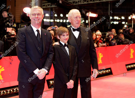 Stephen Daldry, Thomas Horn, Max von Sydow From left director Stephen Daldry, actors Thomas Horn and Max von Sydow arrive on the red carpet for the film Extremely Loud and Incredibly Close during the 62 edition of International Film Festival Berlinale, in Berlin