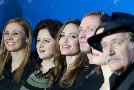 Alma Terzic, Vanesa Glodjo, Angelina Jolie, Goran Kostic, Zana Marjanovic, Rade Srbedzija Actors Alma Terzic, Vanesa Glodjo, director Angelina Jolie, actors Goran Kostic, Zana Marjanovic and Rade Srbedzija, from left, pose for the photo call of the film In the Land of Blood and Honey at the 62 edition of the Berlinale, International Film Festival in Berlin