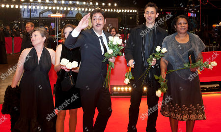 Teresa Madruga, Ana Moreira, Miguel Gomes, Ivo Mueller, Isabel Cardoso Actresses Teresa Madruga, Ana Moreira, director Miguel Gomes and actors Ivo Mueller and Isabel Cardoso, from left, arrive for the screening of the film Tabu at the 62 edition of the Berlinale, International Film Festival in Berlin
