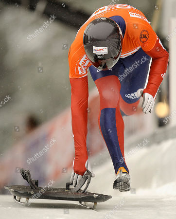 Kristian Bromley Kristan Bromley from Great Britan starts his race during the men's skeleton World Cup race in Winterberg, Germany
