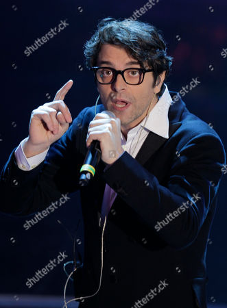 Italian singer Samuele Bersani performs during the 62nd edition of the Sanremo Song Festival, in Sanremo, Italy