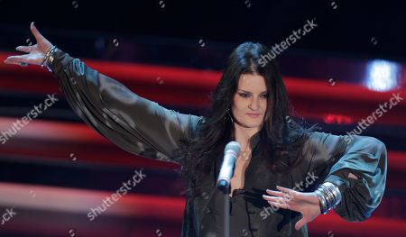Italian singer Irene Fornaciari performs during the 62nd edition of the Sanremo Song Festival, in Sanremo, Italy