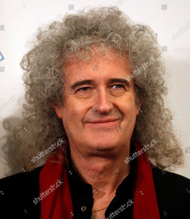 British musician and legendary rock guitarist Brian May looks on prior to a press conference at the 62nd edition of the Sanremo Song Festival, in Sanremo, Italy, . May will play on the stage tomorrow with Italian singer Irene Fornaciari