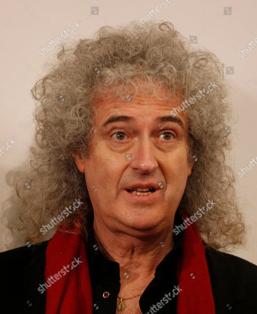 British musician and legendary rock guitarist Brian May looks prior to a press conference at the 62nd edition of the Sanremo Song Festival, in Sanremo, Italy, . May will play on the stage tomorrow with Italian singer Irene Fornaciari