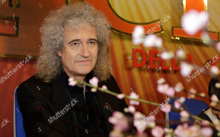 British musician and legendary rock guitarist Brian May looks on during a press conference at the 62nd edition of the Sanremo Song Festival, in Sanremo, Italy, . May will play on the stage tomorrow with Italian singer Irene Fornaciari