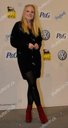 British singer Kerry Ellis poses prior to a press conference at the 62nd edition of the Sanremo Song Festival, in Sanremo, Italy, . May will play on the stage tomorrow with Italian singer Irene Fornaciari