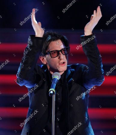 Stock Photo of British singer Gary Go performs during the 62nd edition of the Sanremo Song Festival, in Sanremo, Italy