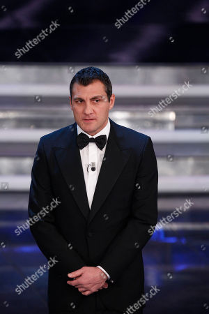 Former soccer player Christian Vieri performs during the 62nd edition of the Sanremo Song Festival, in Sanremo, Italy