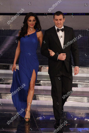 Italian singer Anna Tatangelo and former soccer player Christian Vieri perform during the 62nd edition of the Sanremo Song Festival, in Sanremo, Italy
